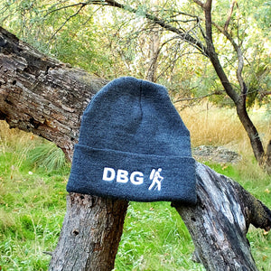 "Charcoal with White DBG Logo 12"" Knit Beanie USA Made"