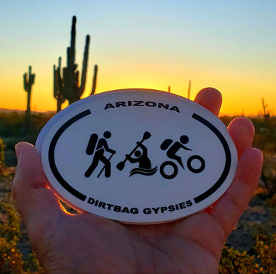 Dirtbag Gypsies Hiker, Kayaker and Biker oval sticker
