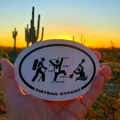 Dirtbag Gypsies Hiker, Climber and Kayaker oval sticker