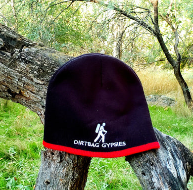 Black with Red band Knit Beanie with White Dirtbag Gypsies Logo
