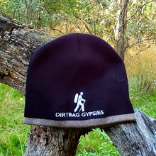 Load image into Gallery viewer, Black with Taupe Band Knit Beanie with White Dirtbag Gypsies Logo