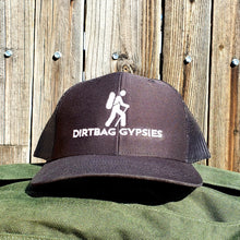 Load image into Gallery viewer, Black DirtBag Gypsies Snap Back Hat with White Logo