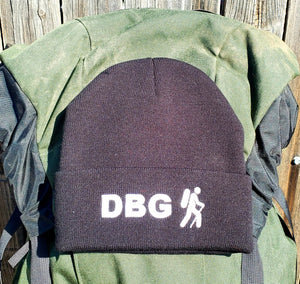 "Black DBG 12"" Knit Beanie with White Logo"