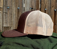 Load image into Gallery viewer, Brown/Khaki DirtBag Gypsies Snap Back Hat with Black logo