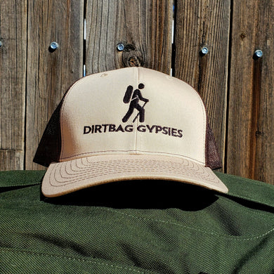 Khaki/Coffee DirtBag Gypsies Snap Back Hat with Black logo