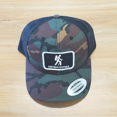 Green Camo/Black Trucker Patched Hat