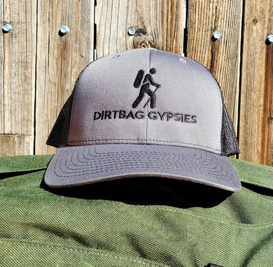 Charcoal/Black DirtBag Gypsies Snap Back Hat with Black logo