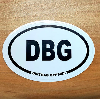 DBG White Oval Sticker