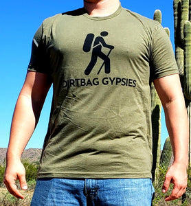 Military Green DirtBag Gypsies Short Sleeve Shirt with Black logo S-3XL