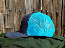 Load image into Gallery viewer, HeatherGray/NeonBlue DirtBag Gypsies Snap Back Hat with Black logo