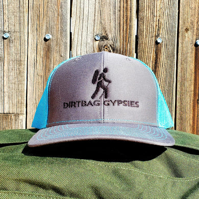 HeatherGray/NeonBlue DirtBag Gypsies Snap Back Hat with Black logo