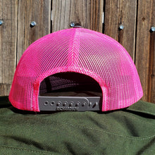 Load image into Gallery viewer, HeatherGray/NeonPink DirtBag Gypsies Snap Back Hat with Black logo