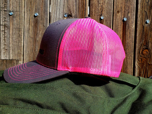 HeatherGray/NeonPink DirtBag Gypsies Snap Back Hat with Black logo