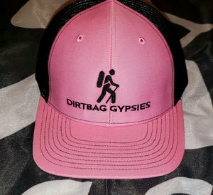 Hot Pink/Black DirtBag Gypsies Snap Back Hat with Black Logo