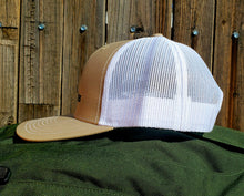 Load image into Gallery viewer, Khaki/White DirtBag Gypsies Snap Back Hat with Black logo