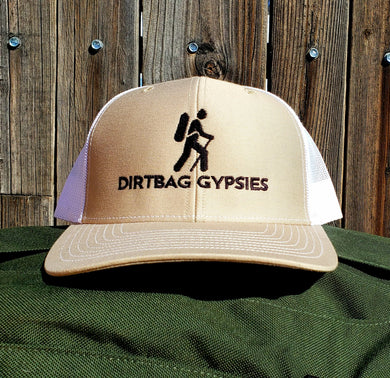 Khaki/White DirtBag Gypsies Snap Back Hat with Black logo