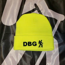 "Load image into Gallery viewer, Lime Green with Black DBG Logo 12"" Knit Beanie USA Made"