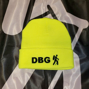 "Lime Green with Black DBG Logo 12"" Knit Beanie USA Made"