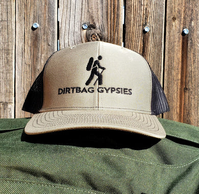 Military Green Loden/Black DirtBag Gypsies Snap Back Hat with Black logo