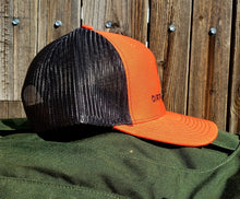 Load image into Gallery viewer, Orange/Black DirtBag Gypsies Snap Back Hat with Black logo