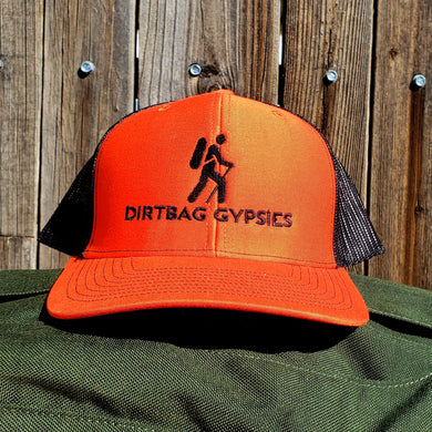 Orange/Black DirtBag Gypsies Snap Back Hat with Black logo