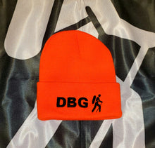 "Load image into Gallery viewer, Orange with Black DBG Logo 12"" Knit Beanie"