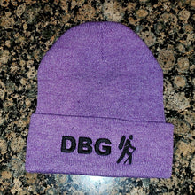 "Load image into Gallery viewer, Heather Purple DBG 12"" Knit Beanie with White Logo"