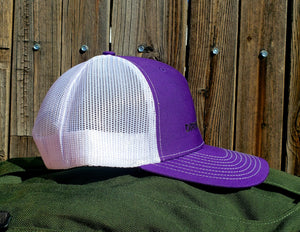 Purple/White DirtBag Gypsies Snap Back Hat with Black logo