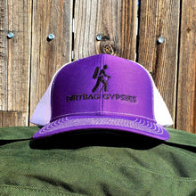 Load image into Gallery viewer, Purple/White DirtBag Gypsies Snap Back Hat with Black logo