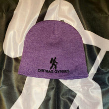 "Load image into Gallery viewer, Heather Purple with Black Dirtbag Gypsies Logo 8"" Knit Beanie"