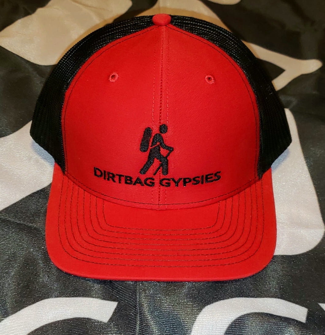 Red/Black DirtBag Gypsies Snap Back Hat with Black logo