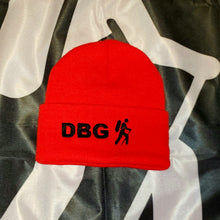 "Load image into Gallery viewer, Red with Black DBG Logo 12"" Knit Beanie USA Made"