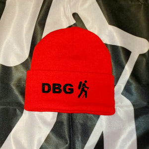 "Red with Black DBG Logo 12"" Knit Beanie USA Made"
