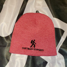"Load image into Gallery viewer, Heather Red  with Black Dirtbag Gypsies Logo 8"" Knit Beanie"