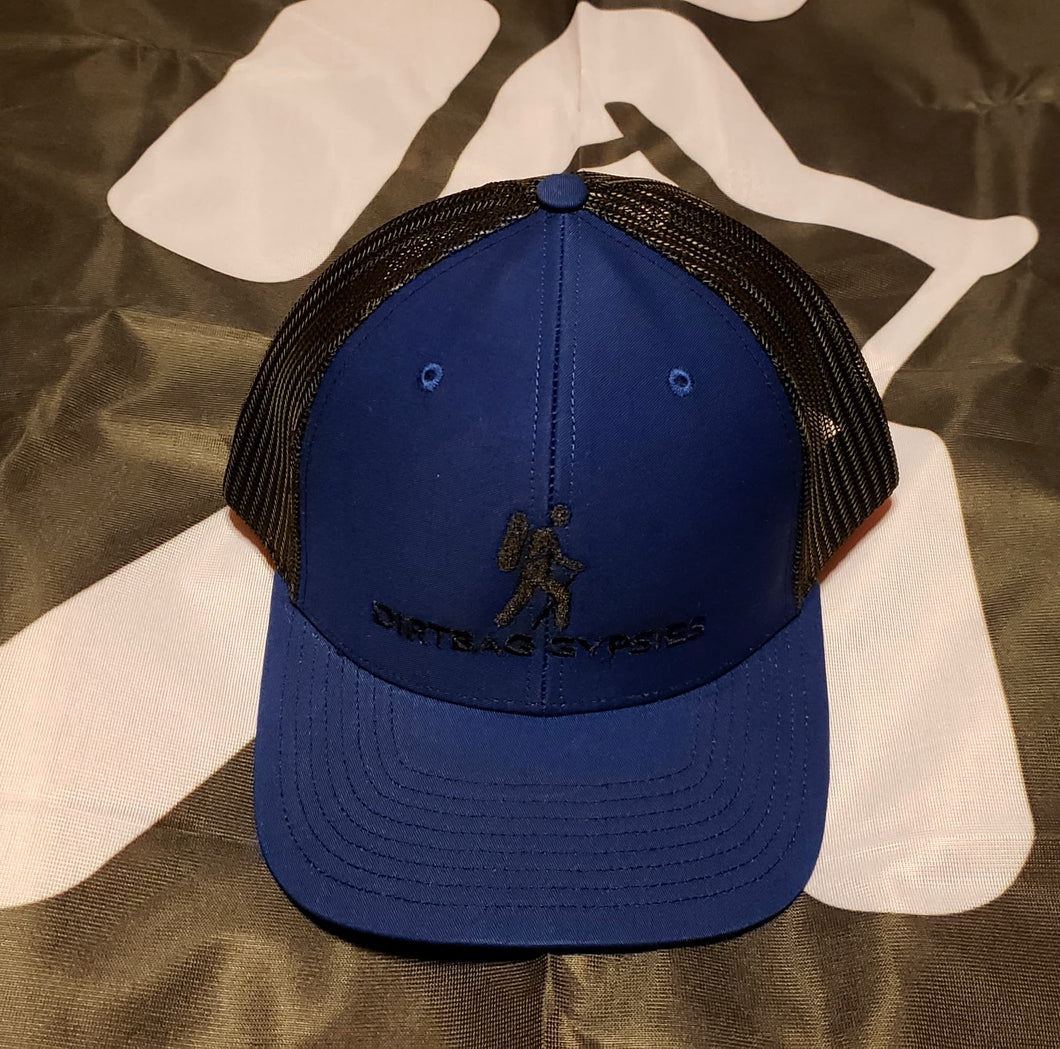 Blue/Black DirtBag Gypsies Snap Back Hat with Black Logo
