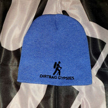 "Load image into Gallery viewer, Heather Royal  with Black Dirtbag Gypsies Logo 8"" Knit Beanie"