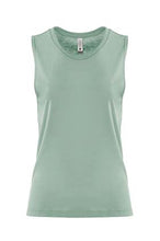 Load image into Gallery viewer, Stonewash Green Hiker Ladies Muscle Tank Top Small Logo