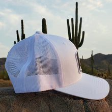 Load image into Gallery viewer, White Trucker Patched Hat