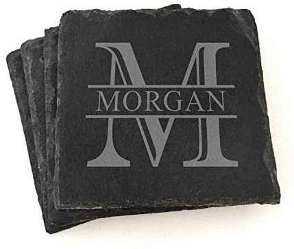 Custom Monogram Slate Coasters Personalized