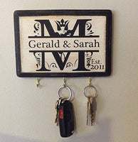 Personalized Monogram Key Holder with Couple's name and Established Year. Wedding Gift - Anniversary Gift - Couple's Gift. Laser Engraved Gift.