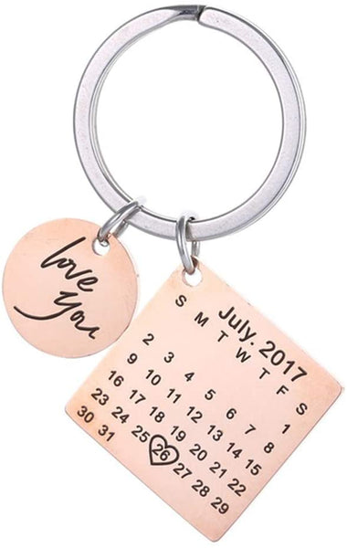 Personalized Custom Special Date Calendar Keychain I Love You Wedding Aniversary Memory Gifts for Anniversary,Girlfriend,Her Best Friends(Rose-Gold)