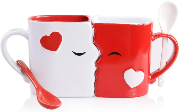 Kissing Mugs Set, Exquisitely Crafted Two Large Cups, Each with Matching Spoon, For Him and Her on a Birthday, Anniversary, Wedding, Engagement, Bridal Shower or Anytime a Couple Wishes by Blu Devil