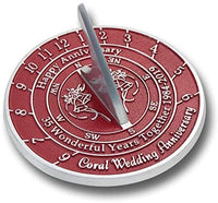 The Metal Foundry 35th Coral Wedding Anniversary 2019 Sundial Gift Idea is A Great Present for Him, for Her Or for A Couple to Celebrate 35 Years of Marriage