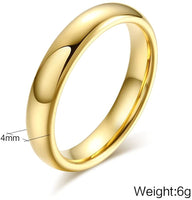 MEALGUET Couples 6mm/4mm Gold Plated-Tone Domed High Polished Plain Tungsten Wedding Ring Band for Men&Women