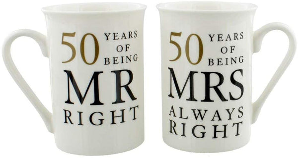 Happy Homewares Ivory 50th Anniversary Mr Right & Mrs Always Right Mug Gift Set