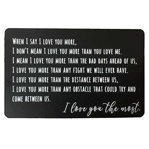 Engraved Wallet Insert Anniversary Gifts for Men, Metal Wallet Card Insert, Mini Love Note, Anniversary Card from Wife, Anniversary Cards for Husband, Boyfriend, Deployment Gift