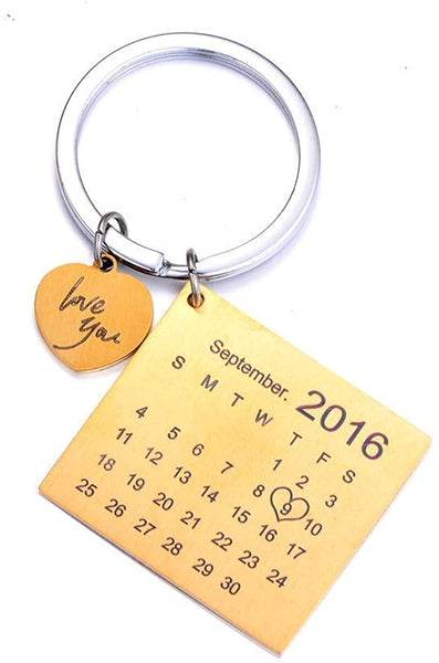 Personalised Custom Engraved Calendar Date Engraved Stainless Steel Keyring & Keychain Memorial Wedding Gift