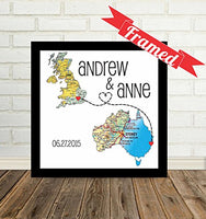 Custom Wedding Couple Heart Map Art Print, FRAMED ART, Wedding gift, Personalized & Customized, Engagement Gift, Anniversary Gift, Valentines day gift, Housewarming gift, Bridal shower gift