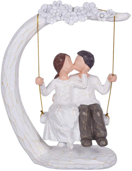 JHP Together Figure, 9Inch Hand-Print Together Love Couple Figurines a Couple, Newlyweds, Wedding Couple, Husband Wife (002)