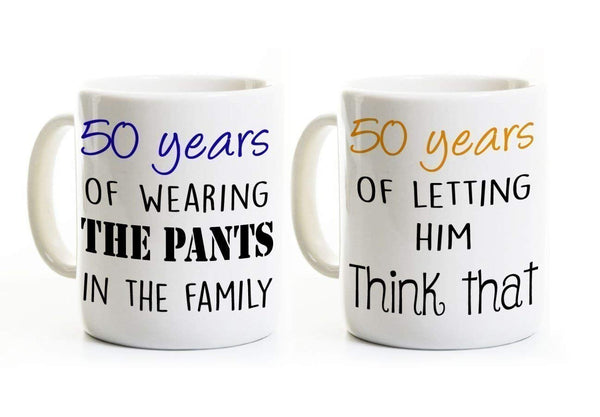 Funny 50th Anniversary Coffee Mug Set of 2 Mugs - Wearing the Pants, 50 Years